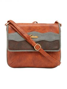 ESBEDA Brown Color Stripe Pu Synthetic Material Slingbag For Women-1851
