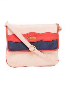 ESBEDA Light Pink Color Stripe Pu Synthetic Material Slingbag For Women-1853