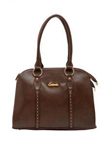 ESBEDA Dark-Brown Color Solid Pu Synthetic Material Handbag For Women-1861