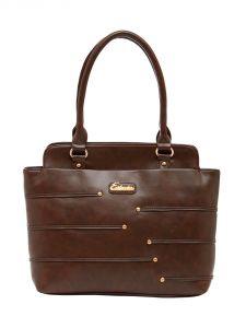 ESBEDA Dark-Brown Color Solid Pu Synthetic Material Handbag For Women-1867