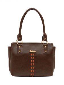 ESBEDA Dark-Brown Color Solid Pu Synthetic Material Handbag For Women-1878