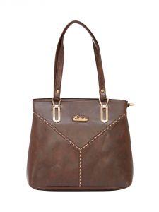 ESBEDA Dark-Brown Color Solid Pu Synthetic Material Handbag For Women-1879