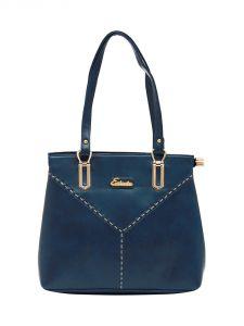 ESBEDA Dark-Blue Color Solid Pu Synthetic Material Handbag For Women-1880