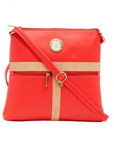 Esbeda Red Color Solid Pu Synthetic Material Slingbag For Women-1888