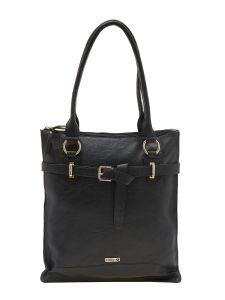 ESBEDA Black  Color Solid Pu Synthetic Material Handbag For Women-1907