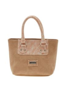 Esbeda Beige Solid Pu Synthetic Material Handbag For Women-1917