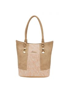 Esbeda Beige Solid Pu Synthetic Material Handbag For Women(code-1983)