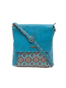 Esbeda Blue Paisley Print Pu Synthetic Material Slingbag For Women(code-1984)