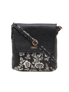 ESBEDA Black Floral Print Pu Synthetic Material Slingbag For Women(code-1987)