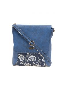 Esbeda Blue Floral Print Pu Synthetic Material Slingbag For Women(code-1988)