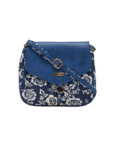 ESBEDA Blue Floral Print Pu Synthetic Material Slingbag For Women(code-1991)
