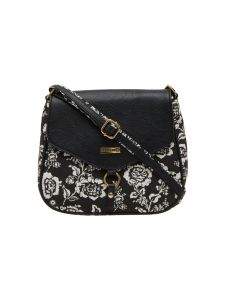 ESBEDA Black Floral Print Pu Synthetic Material Slingbag For Women(code-1992)
