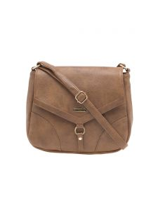Esbeda Beige Solid Pu Synthetic Material Slingbag For Women(code-1998)