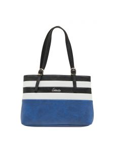Esbeda Dark Blue Striped Pu Synthetic Material Handbag For Women(code-2012)
