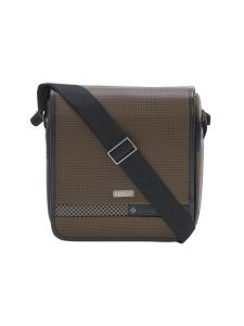 Esbeda Brown Color Checkered Pu Synthetic Material Slingbag For Men(code-2034)