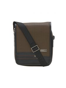 Esbeda Brown Color Checkered Pu Synthetic Material Slingbag For Men(code-2037)