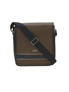 Esbeda Brown Color Checkered Pu Synthetic Material Slingbag For Men(code-2044)