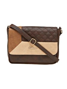 Esbeda Brown Checkered Pu Synthetic Material Slingbag For Women (code -2091)