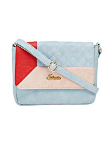 Esbeda Blue Checkered Pu Synthetic Material Slingbag For Women (code -2092)