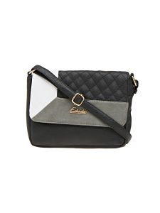 Esbeda Black Checkered Pu Synthetic Material Slingbag For Women (code -2093)