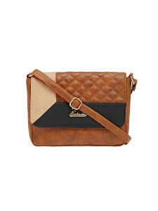 Esbeda Brown Checkered Pu Synthetic Material Slingbag For Women (code -2095)