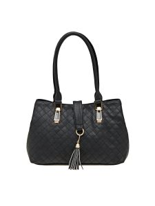 Esbeda Black Checkered Pu Synthetic Material Handbag For Women (code -2096)