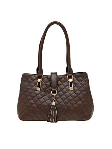 Esbeda Brown Checkered Pu Synthetic Material Handbag For Women (code -2097)