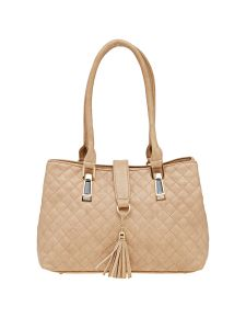 Esbeda Beige Checkered Pu Synthetic Material Handbag For Women (code -2098)