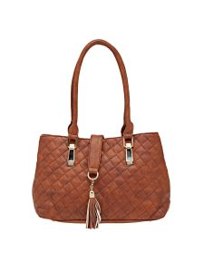 Esbeda Tan Checkered Pu Synthetic Material Handbag For Women (code -2099)