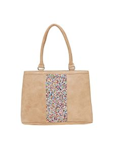 Esbeda Beige Solid Pu Synthetic Material Handbag For Women (code -2110)