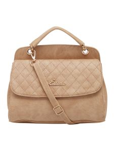 Esbeda Beige Checked Pu Synthetic Material Handbag For Women (code-2151)