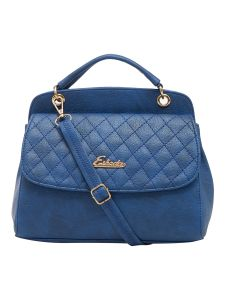 Esbeda Blue Checked Pu Synthetic Material Handbag For Women (code-2152)