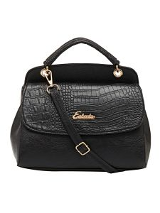Esbeda Black Solid Pu Synthetic Material Handbag For Women (code-2157)