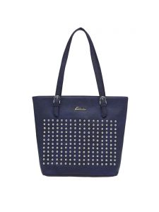 Esbeda Blue Polka Dots Pu Synthetic Material Handbag For Women(code-2174)