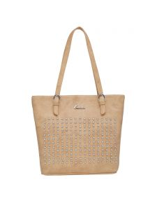 Esbeda Beige Polka Dots Pu Synthetic Material Handbag For Women(code-2175)
