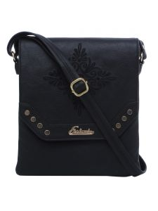 Esbeda Black Solid Pu Synthetic Material Slingbag For Women(code-2199)