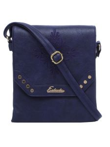 Esbeda D-blue Solid Pu Synthetic Material Slingbag For Women(code-2200)