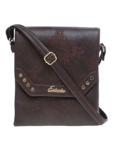 Esbeda Brown Solid Pu Synthetic Material Slingbag For Women(code-2201)