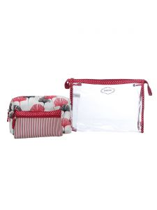 ESBEDA Red Printed Pu Synthetic Material Travelling Kit For Women(Code-2216)