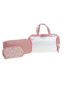 ESBEDA Pink Printed Pu Synthetic Material Travelling Kit For Women(Code-2223)