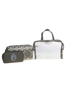 ESBEDA Grey  Printed Pu Synthetic Material Travelling Kit For Women(Code-2224)