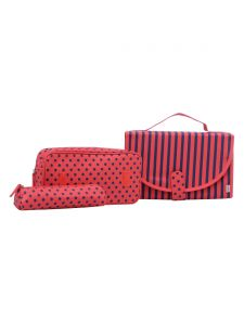 ESBEDA Red Printed Pu Synthetic Material Travelling Kit For Women(Code-2225)