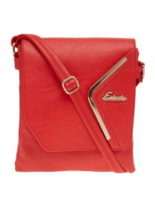 Esbeda Red Solid Pu Synthetic Material Slingbag For Women-( Code-2291)