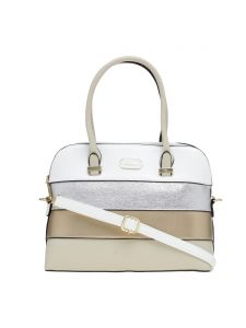 Esbeda White Stripe Pu Synthetic Material Handbag For Women-( Code-2297)