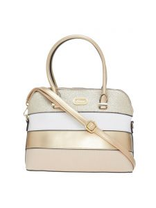 Esbeda Gold Stripe Pu Synthetic Material Handbag For Women-( Code-2299)