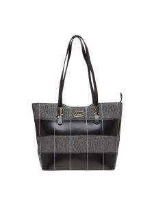 Esbeda Black Checkered Pu Synthetic Material Handbag For Women-( Code-2307)