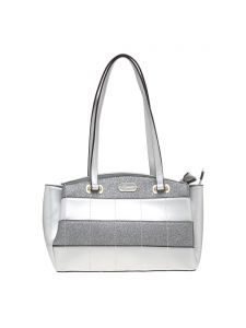 Esbeda Light Grey Checkered Pu Synthetic Material Handbag For Women-( Code-2314)
