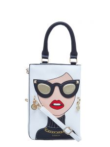 ESBEDA White Color Printed Pu Synthetic Material Slingbag For Womens(Code-2329)