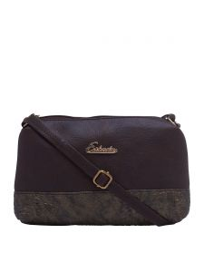 ESBEDA D-Brown Color Snake Work Pu Synthetic Material Slingbag For Womens(Code-2332)