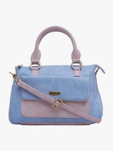 ESBEDA Light Blue & Light Pink Solid Pu Synthetic Fabric Handbag For Women(Code-2373)
